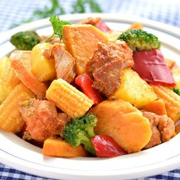 Obrázek Zeleninová směs s batáty,ananasem a vepřovým masem 500g