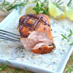 Obrázek Grilovaný losos - máslová omáčka s vínem 200 g