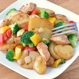 Obrázek Brambory, kuřecí prsa, zelenina  450 g